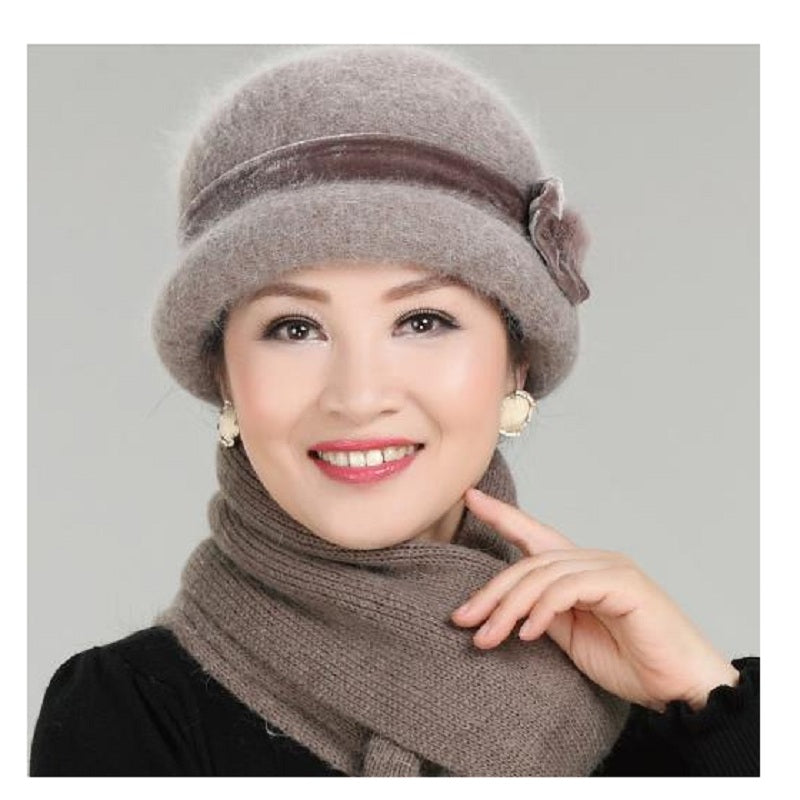 ... New Fashion Women Winter Hat Sets Floral Skullies Wool Mixed Rabbit Fur  Warm Outdoor Knitted Beanies ... 2e58660a204