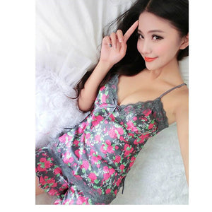 Women Pajamas Imitated Silk Lace Floral Printed Robe Sleepwear Lingerie Nightdress Tops+Pants Set FS99