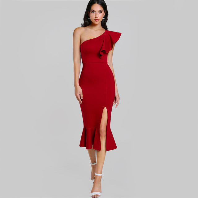 COLROVIE Slit Fishtail Summer Party Dress Burgundy One Shoulder  Women Flounce Midi Dresses Elegant Empire Club Dress
