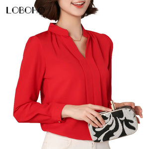 Black Red White Chiffon Blouse Women  Long Sleeve Elegant Ladies Office Shirts Korean Fashion Casual Slim Women Tops