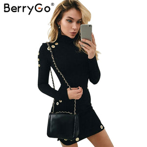 BerryGo hollow out hole bodycon dress Women slim long sleeve black dress Elegant party short dress vestidos de fiesta