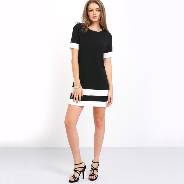 Sheinside Ladies Color Block Casual Mini Dresses New  Style Black White Patchwork Crew Neck Short Sleeve Shift Dress