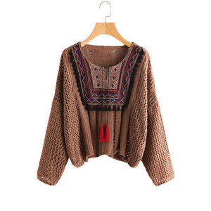 SHEIN Tasseled Tie Embroidered Yoke Eyelet Jumper Coffee Round Neck Long Sleeve Casual Loose Sweater