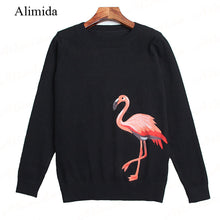 ALIMIDA  New Runway Fashion Women Sweaters O-neck Knitted Pullovers Full Sleeve Blouse Shirts Female Tops Embroidery Animal