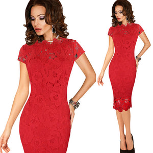 Vfemage Womens Elegant Crochet Hollow Out Pinup Party Evening Special Occasion Sheath Fitted Vestidos Dress 4272