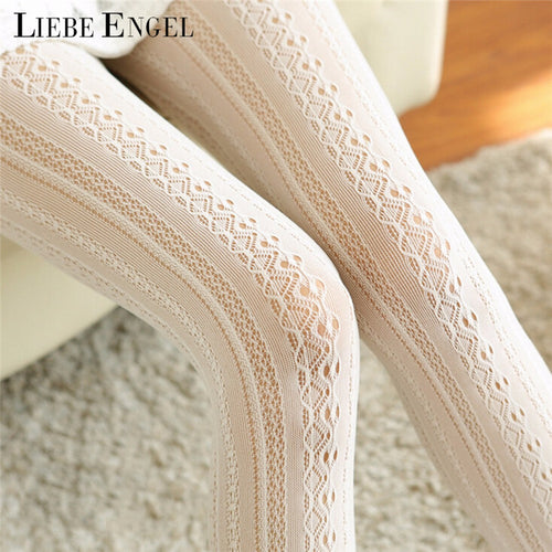 LIEBE ENGEL Fashion Women Socks Body Stovepipe Shaping Lace Vertical Strips Pantyhose For Women Warm Attractive Nylon
