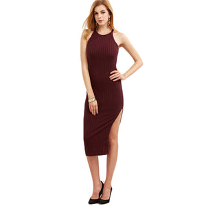 COLROVIE Women Bodycon Cami Dress  Womenl Fashion New Designer Side Slit Ribbed Midi Dress