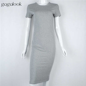 gagalook Bodycon  Dress Women Office Work Long Sleeve Black Midi Dress Robe D0746