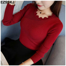 black white  Sweater Women solid Knitted Sweater Pullovers long sleeve tops Wave Cut V-neck Basic office