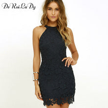 DeRuiLaDy Women Casual Dress Elegant Wedding Party Night Club Halter Neck Sleeveless Sheath Bodycon Lace Mini Dress vestido