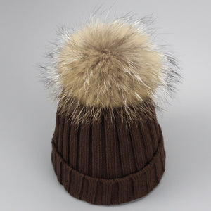 Real Fur Winter Hat Raccoon Pom Pom Hat For Women Brand Thick Women Hat Girls Caps Knitted Beanies Cap Wholesale  new 9275