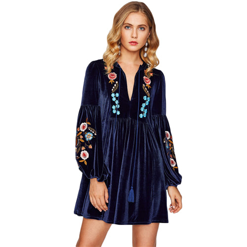 SHEIN Tasseled Tie Bishop Sleeve Embroidery Velvet Dress Navy Long Sleeve V Neck A Line Dress  Women Dresses