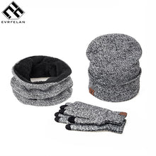 3 Pieces Set New Brand Women Winter Hat And Gloves Cotton Unisex Winter Hat Scarf Gloves Solid Hat And Scarf Set For Women Men