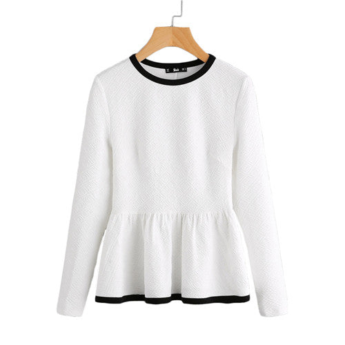 SHEIN Contrast Binding Textured Peplum Shirt  White Women Tops Blouses Long Sleeve Elegantl  Fashion Blouse