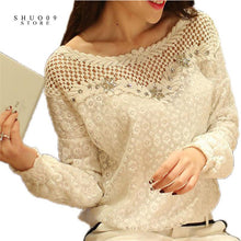 Spring Women Fashion Lace Floral Patchwork Blouse Long Sleeve Shirts Hollow Out Casual Tops Plus Size XXL Pullovers