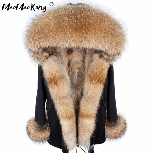 MAO MAO KONG fur coat parkas winter jacket coat women parka big real raccoon fur collar natural fox fur liner long outerwear