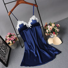Fiklyc brand young girls padded bust lace satin nightgowns luxury noble V-neck sleeveless summer womens home nightwear