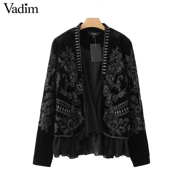 Vadim vintage paisley embroidery ruffles velvet coat long sleeve open stitch chic jacket casual retro outerwear tops CT1580