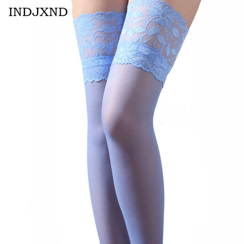 INDJXND Skinny Women Girl Carve Floral Lace Hollow Slim Socking Thigh Patchwork High Quality Flower Sheer Lingerie Socking