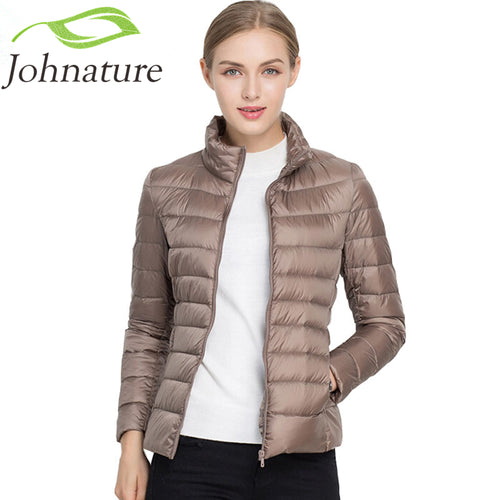 Johnature 90% White Duck Down Jacket Autumn Winter 17 Colors New Warm Slim Zipper  Women Fashion Light Down Coat S-3XL