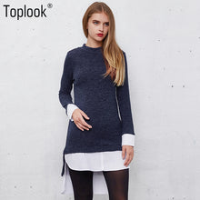 Toplook Knitted Women's  Sweaters New Blue Split Long Sleeve Pullovers Vintage Stitching Shirt Sweater