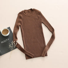 Women Sweater Pullover Basic Rib Knitted Cotton Tops Solid Crew Neck Essential Jumper Long Sleeve Sweaters