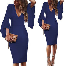 Vfemage Womens Deep V-neck Flare Bell Long Sleeves Elegant Work Business Casual Party Slim Sheath Bodycon Pencil Dress 7925