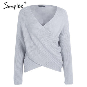 Simplee V neck cross knitting  sweater women Fashion down sleeve pullover female New  casual jumper
