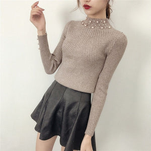 Idealark Pearl Beaded Pure Color batwing Sleeve Loose round Neck Long Sleeve Cute Women knit Sweaters and Pullovers WC0665