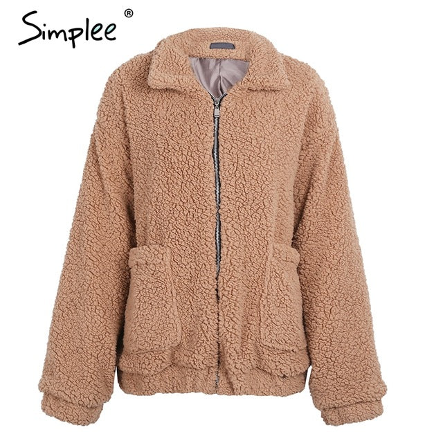 Simplee Faux lambswool oversized jacket coat black warm hairly  jacket Women autumn outerwear  new female overcoat