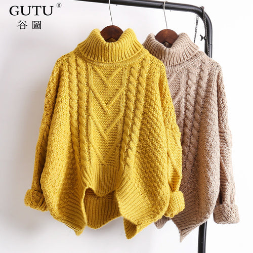 [GUTU] spring 2018 solid color hot sale turtleneck long sleeve knitting pullover keep warm sweater  women M41003
