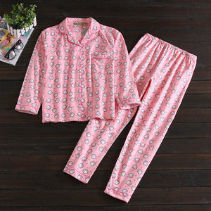 Casual 100% flannelette brushed cotton long sleeve women pajama sets Cute cartoon keep warm sleepwear women pyjama femme