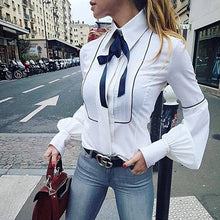 OOTN Office Bow Tie Blouses Women Lantern Sleeve White Blue Tunic Button Down Shirts Female Elegant Top 2018  Tops