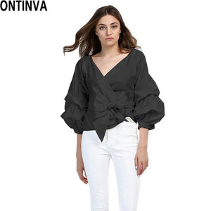 2018 Summer Puff Sleeve White Blouse with Belt Women V Neck Woman Shirt Elegant Plaid Tops Formal Clothing for Office lady