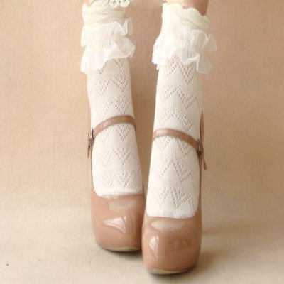 1 pair  Retro Style Cotton  Lace Ruffle Frilly Ankle Short Socks Princess Girl