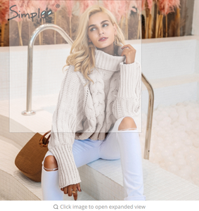 Simplee Turtleneck knitted pullover sweater Women hollow out soft jumper pull femme  warm knitting sweater