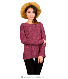 Spring  Mixed Color Wool Plus Size Women's dress Comfort Knitted Pullover Sweater Fashion O-Neck Long Sleeve Jumper Top