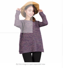 Spring Autumn Mixed Color Wool Plus Size Women's dress Comfort Knitted Pullover Sweater Fashion O-Neck Long Sleeve Jumper Top