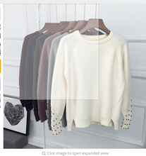 Women Cashmere Beading O-Neck Sweater Knitted Shirt Tops Long Sleeves Loose Fashion Sweater Pullover All-match Coats