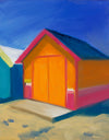 A painting capturing a brightly colored orange beach cottage found in Brisbane, Australia surrounded by a periwinkle blue sky. Museum quality art reproduction printed on heavy archival fine