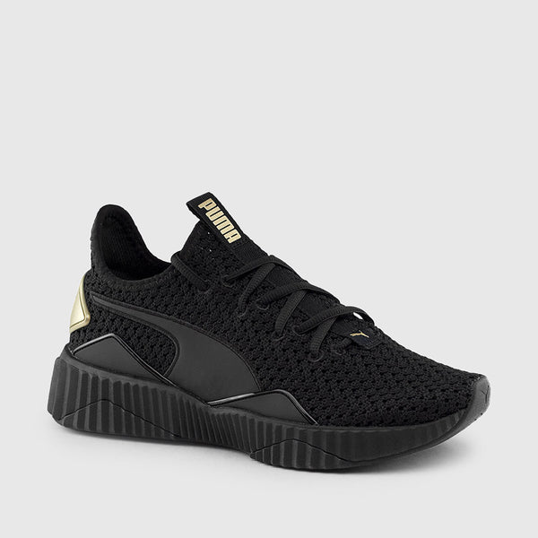 PUMA WOMEN'S DEFY VARSITY SNEAKERS (BLACK | GOLD)