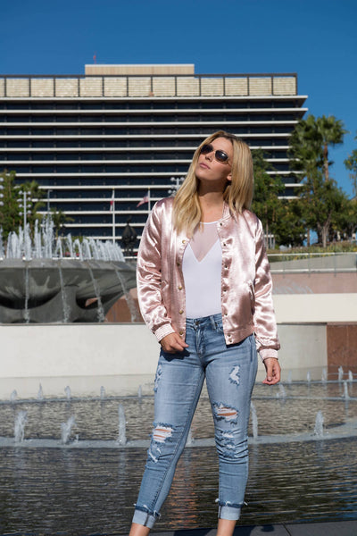 Sadie Satin Bomber Jacket