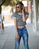 Rosie Striped Crop Tee