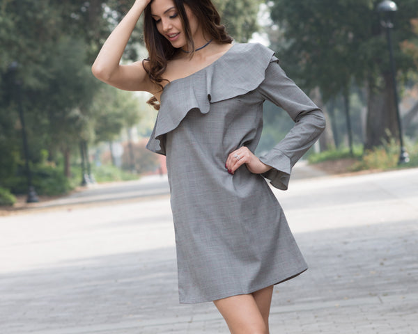 Marianne Plaid One Shoulder Dress