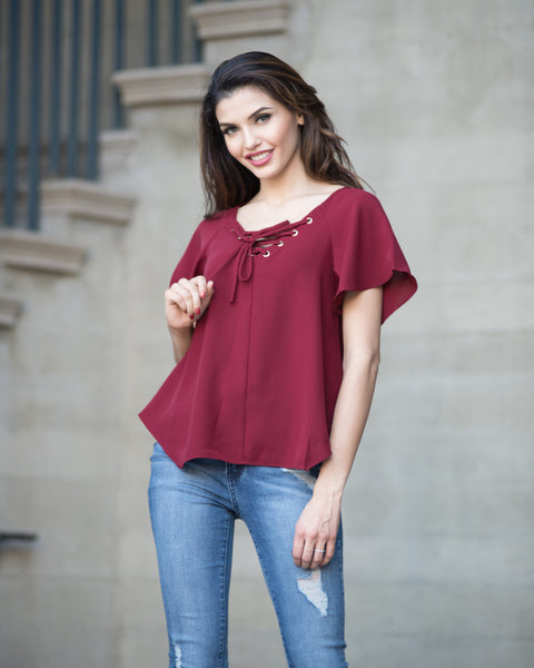 Elisa Lace Up Top