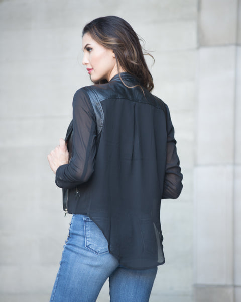 Cystal Chiffon Sheer Sleeve Jacket