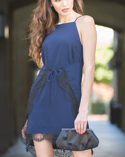 Amee Navy Slip Dress