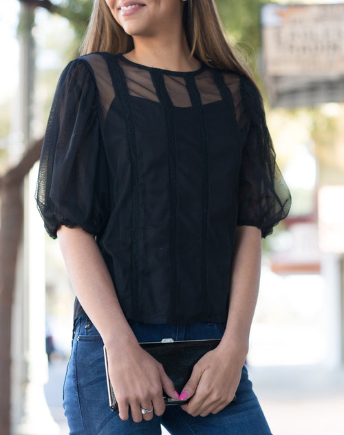 Scarlet Sheer Black Top