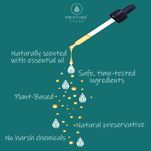Pristine Sprays clean ingredients, safe, time-tested, natural fragrance, essential oil dropper