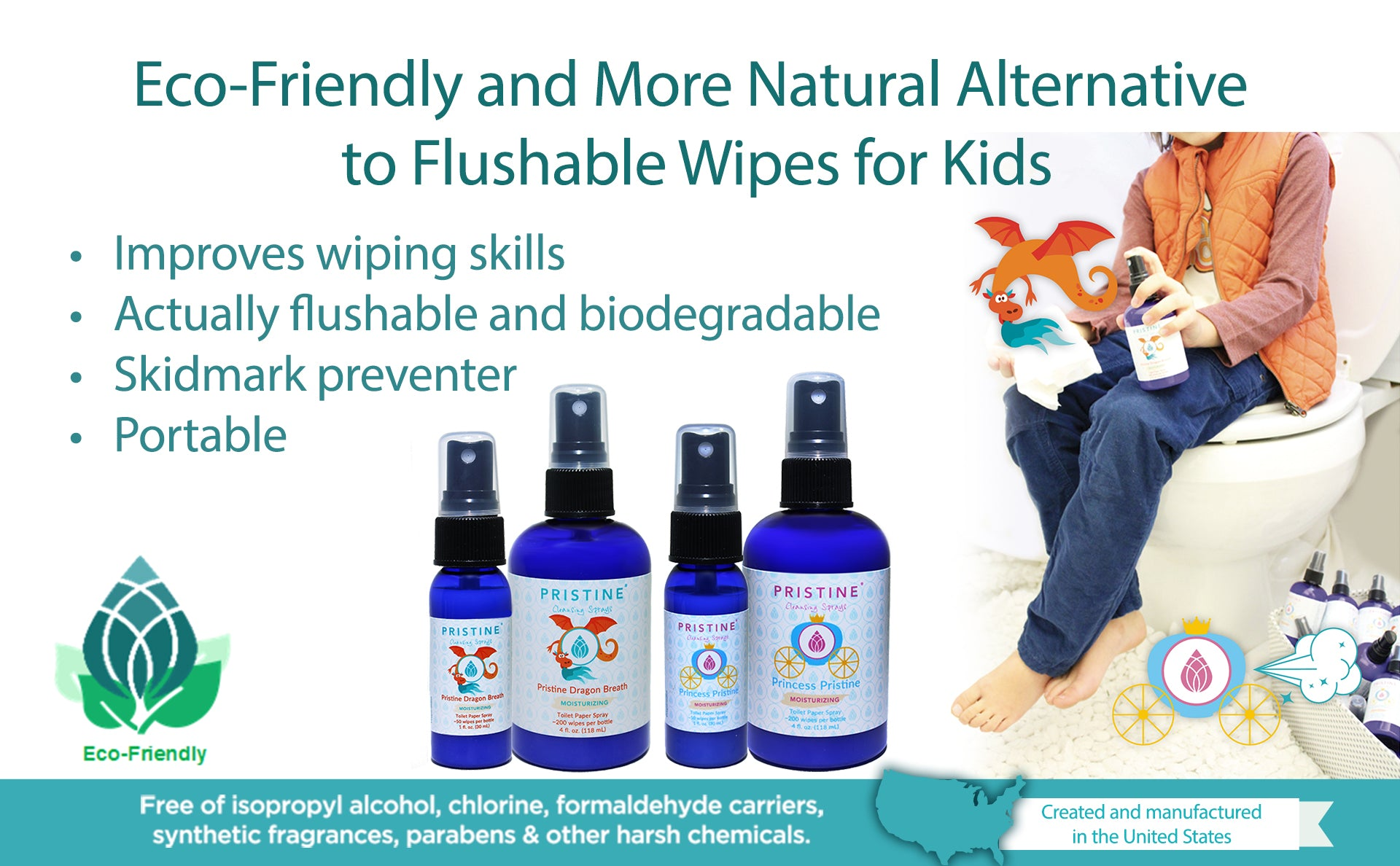 eco-friendly alternative to wet wipes, no synthetic fragrance, non-clogging, septic safe, sewer safe, toilet paper spray, helps with potty training.